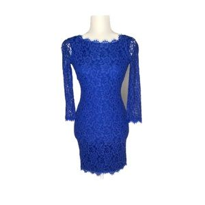 DVF Cosmic Cobalt Zarita Lace Casual Dress